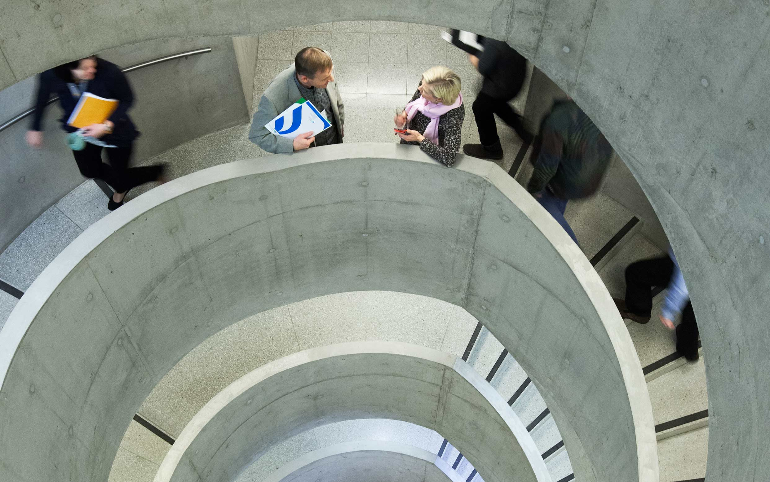 People on staircase.